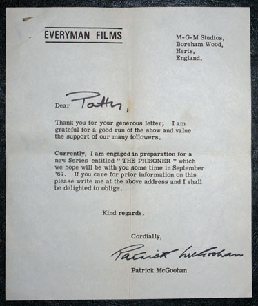 Danger Man fan letter