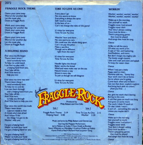 Fraggle Rock Weekly Reader LP back