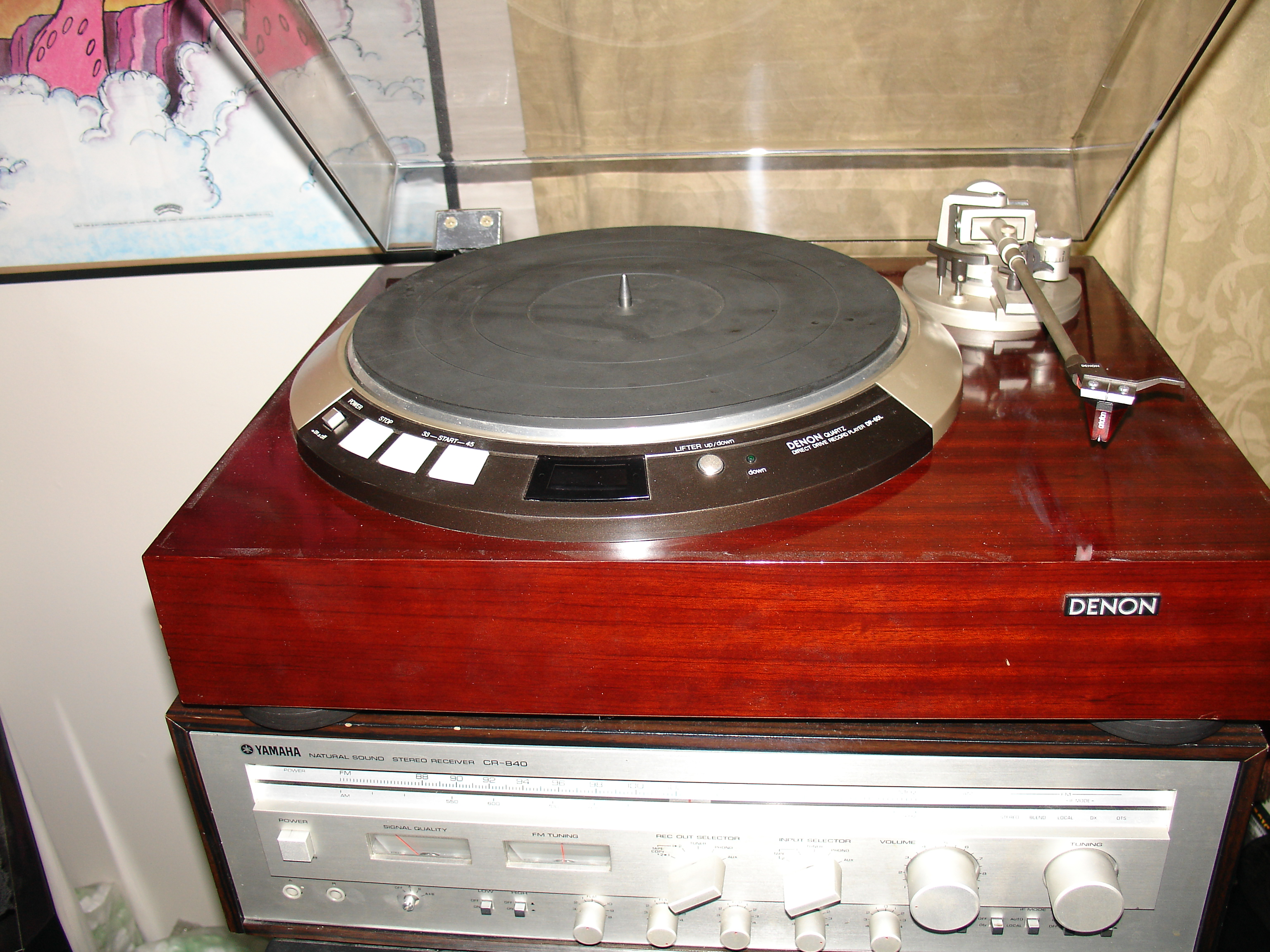 Denon DP-60L Rosewood Turntable and my Yamaha CR-840 integrated tuner/amplifier