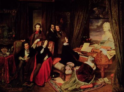 Franz Liszt Fantasizing at the Piano  Painting by Josef Danhauser
