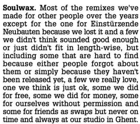 Soulwax Remixes aka_Most Of The Remixes We've Made For Other People Over The Years Except For The One (2007)