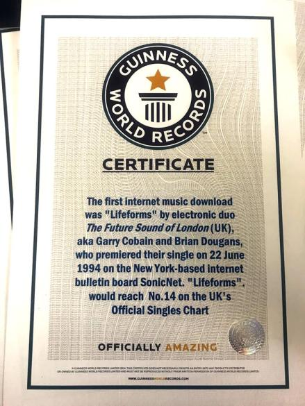 FSOL Lifeforms Guiness Book of Worlds Records Certificate 11-23-17