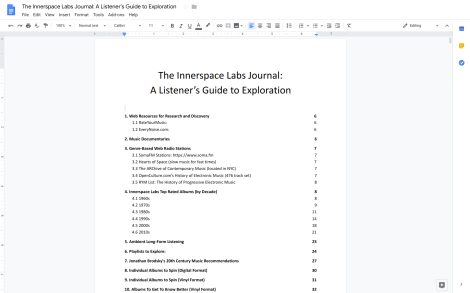 Screenshot of Innerspace Labs Journal A Listener's Guide to Exploration