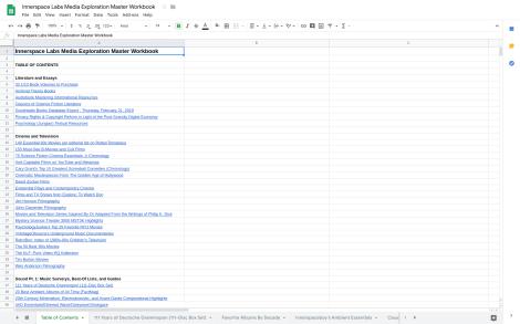 Screenshot of Innerspace Labs Media Exploration Master Workbook