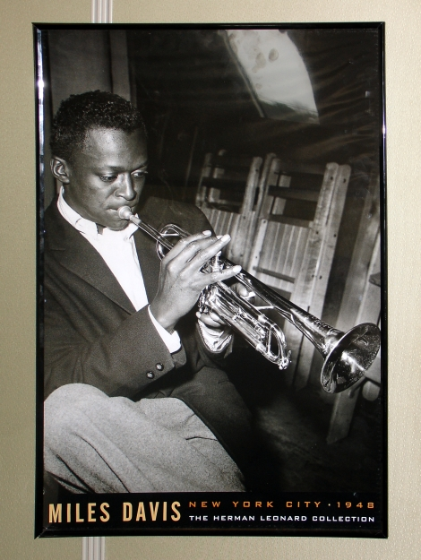 09 Miles Davis 24x36 Poster Framed at Work.JPG